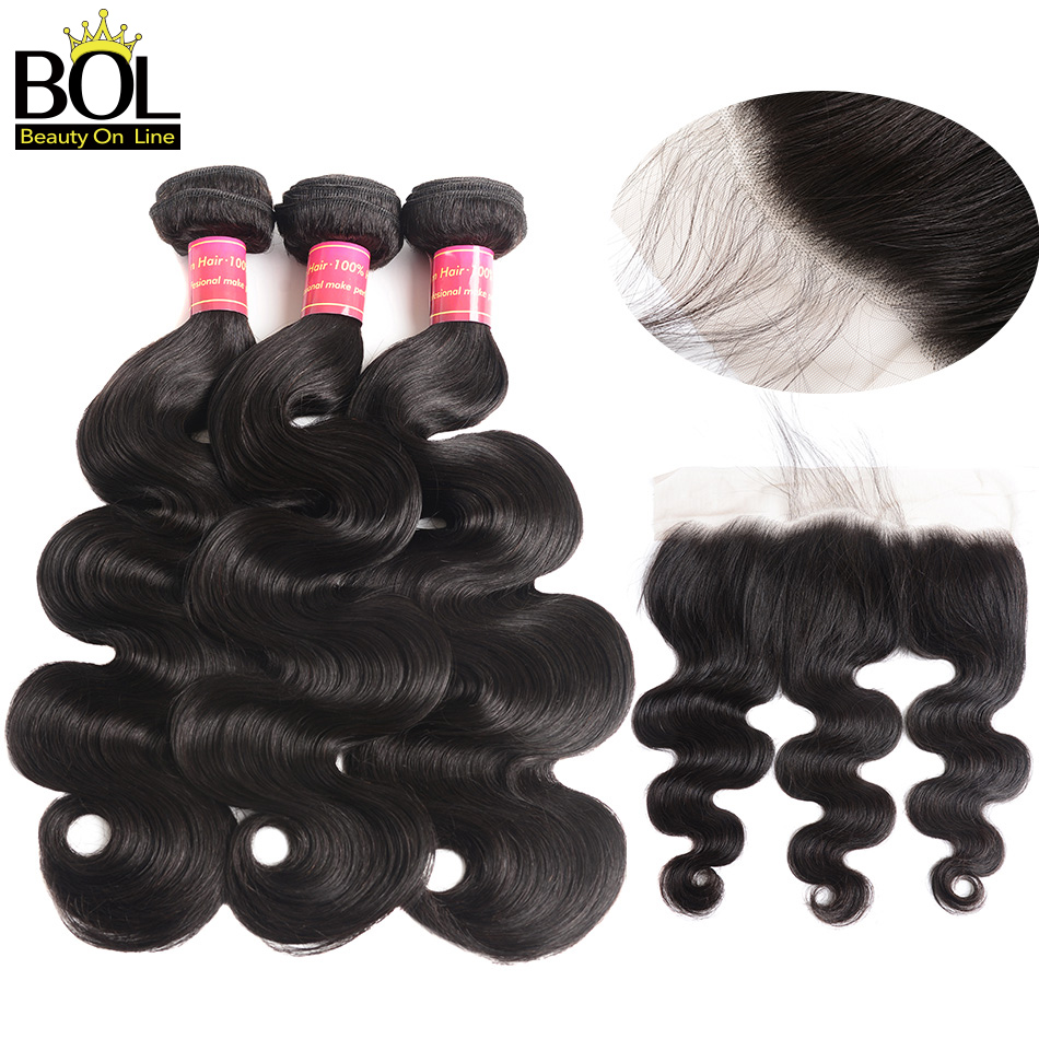 Ear To Ear Lace Frontal Closure Med Bundles Body Wave Peruvian Human - Menneskehår (sort)