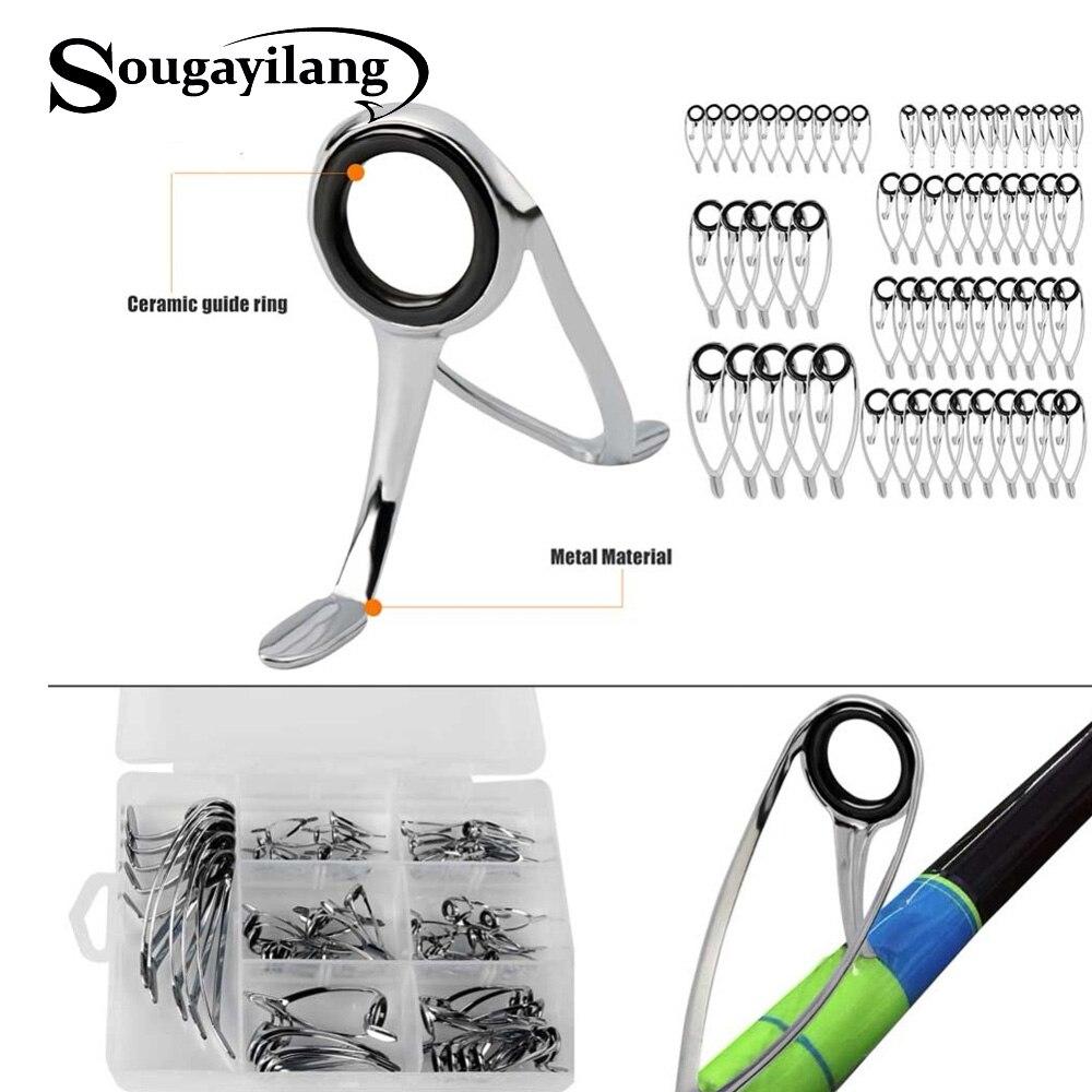 Sougayilang 60pcs/box Fishing Rod Pesca Saltwater Ceramic Stainless Lure Rod Guide Ring Set Eye Carbon Guide Repair Kits
