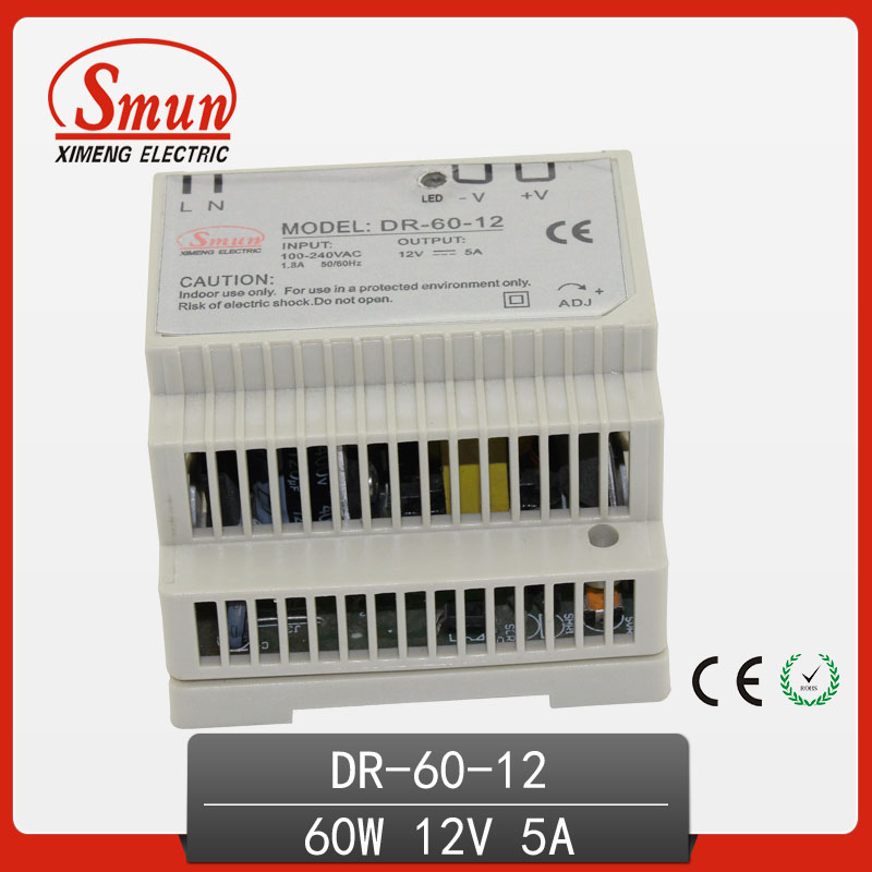 60W 12V 5A Single Output AC-DC Indoor Din Rail Switching Mode Power Supply DR-60-12 ac dc dr 60 5v 60w 5vdc switching power supply din rail for led light free shipping