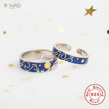 Romad 925 Sterling Silver Ring For Women Lover Men Van Gogh Enamel Rings Adjustable Starry Sky Moon Open Gift W3