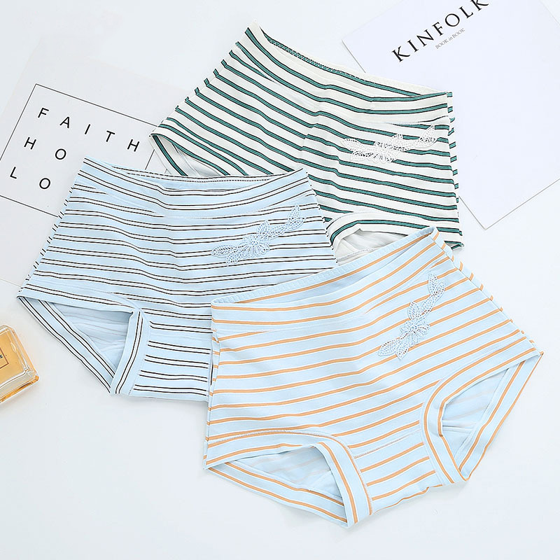 Hot Selling Women Sexy Striped Cotton MID-Rise Lingerie Briefs Casual Panties of 7 Color for Ladies Girl Underwear Women Gift
