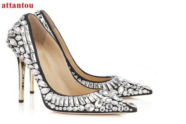 woman crystal high heels Special thin heel 2017 summer sandals party wedding dress shoes slip-on pointed toe female single shoes summer platform wedges party shoes for woman extreme high heels sexy wedding shoes woman comfort female shoes heel