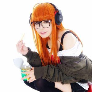 Image 5 - Perruque de Costume de Cosplay, perruque + piste + capuchon, lisse et longue de 100cm, P5 Persona5 Futaba Sakura, Orange résistante à la chaleur