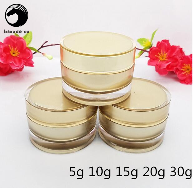 Free Shipping 10g 15g 20g 30g Gloden Acrylic Plastic Empty Bottles Jars New Style Top Grade Eye Gel Cosmetic Cream Containers