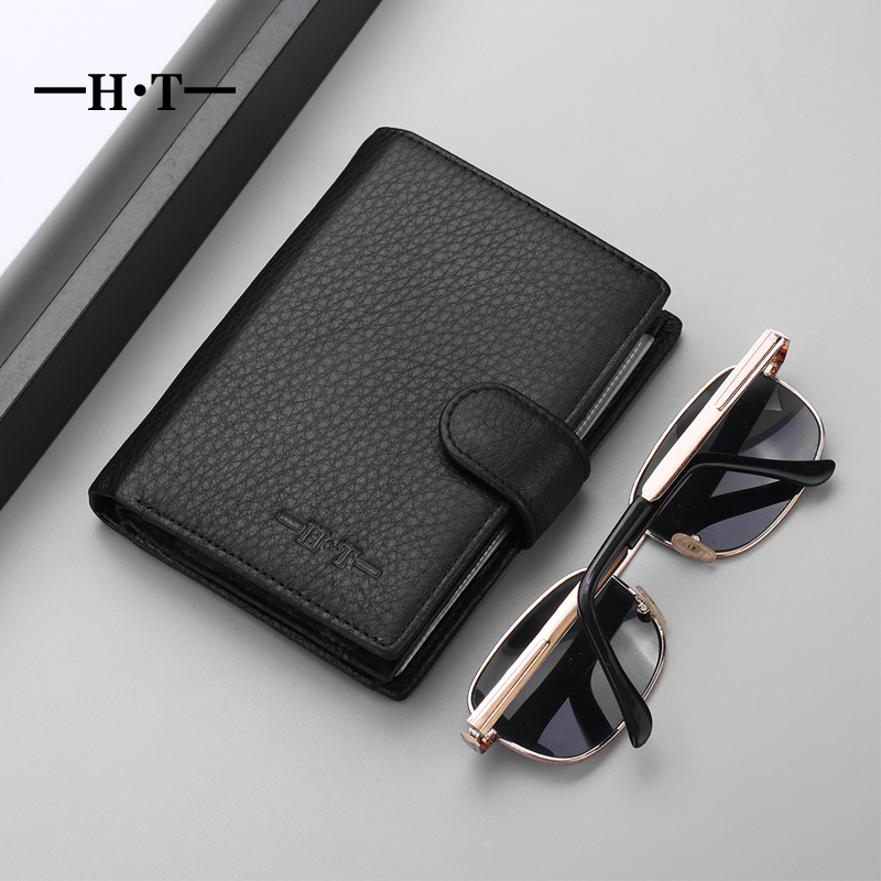 HT Brand Genuine Leather Men Luxury Wallet Male Cowhide Small Coin Purse Money Bag Mens Foldable Designer Short Slim Card Walet