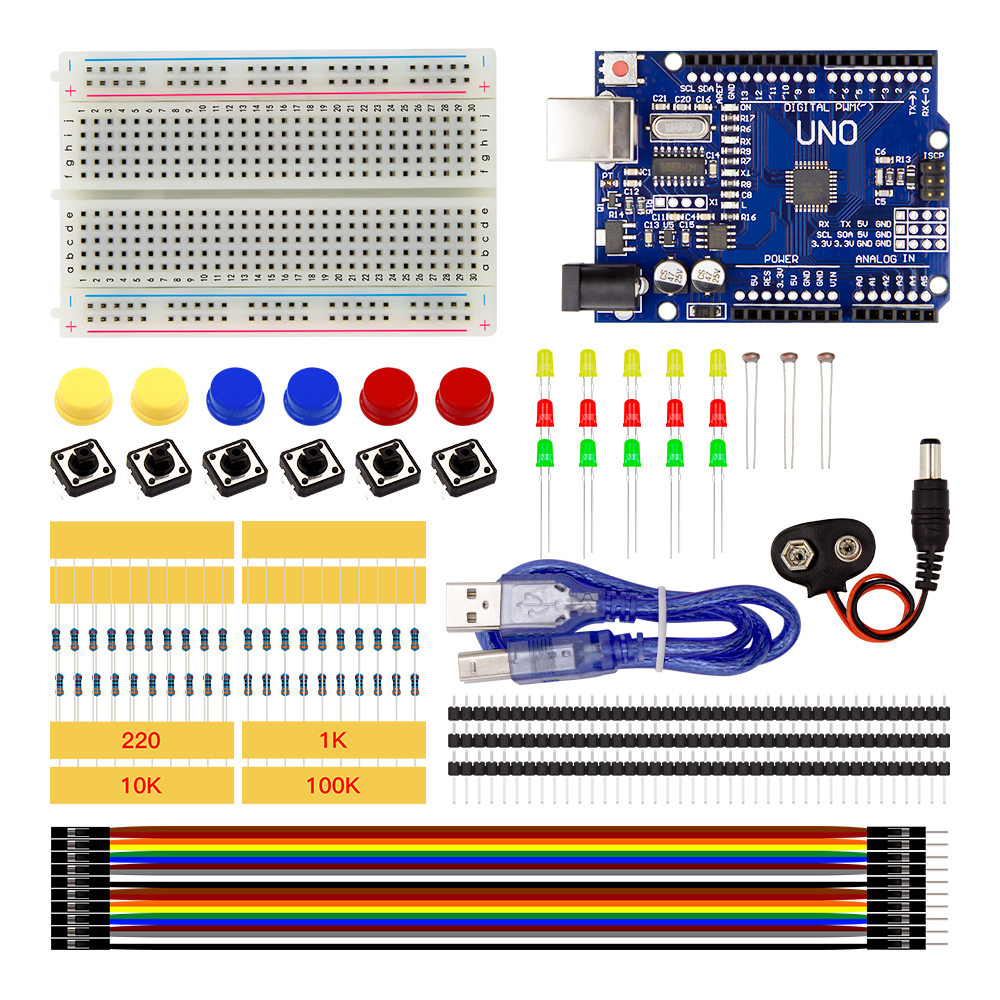 Robotlinking Starter Kit avec mini Planche À Pain cavalier LED bouton