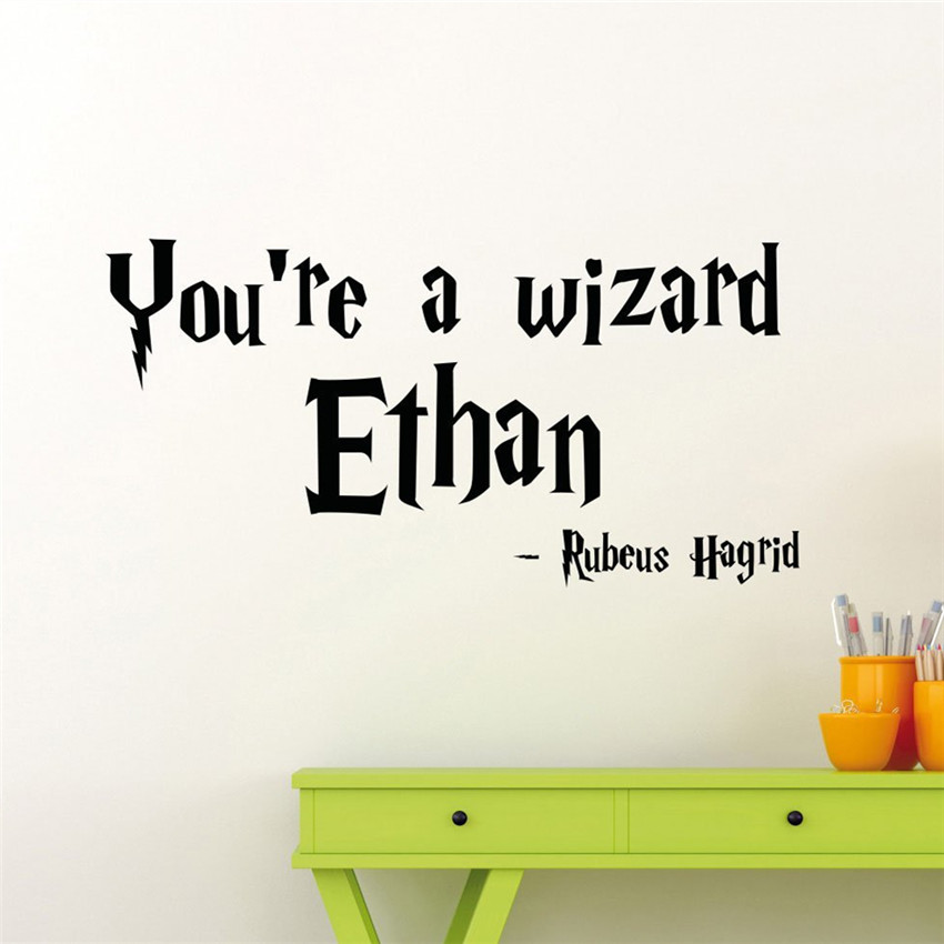 personalized harry potter wall sticker custom name home teen boy girl kids room bedroom nursery art - Name Of Bedroom Furniture