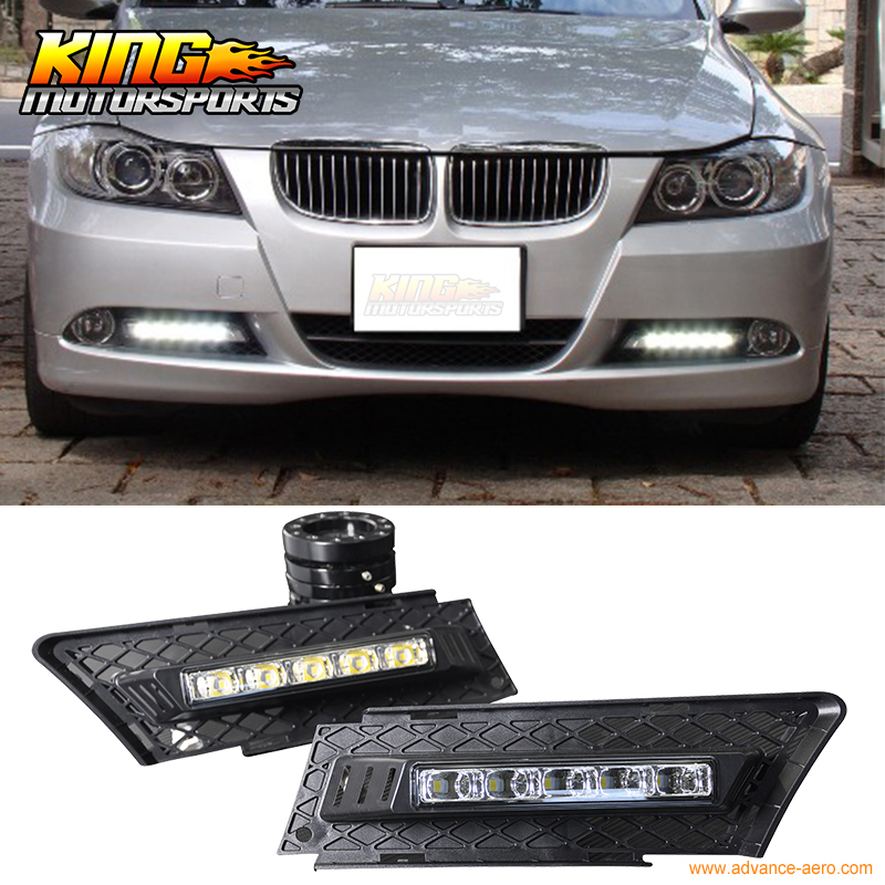 Fit For 05-08 BMW E90 3 Series 4Door DRL Daytime Driving Light LED Fog Light Lamp Kit USA Domestic Free Shipping Hot Selling fit for 02 08 toyota solara camry corolla oe fog light smoke lamps wiring kit included usa domestic free shipping hot selling