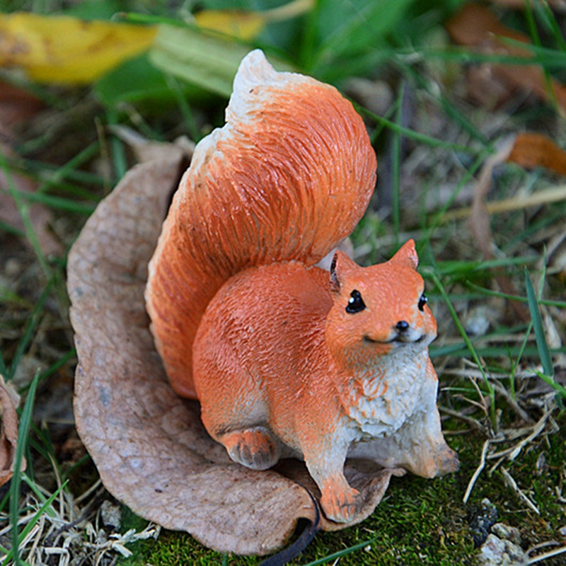 Cute Lifelike Squirrels Simulated Miniature Resin Micro Landscape Fairy Garden Cottage Craft For Home Decoration Accessories PY