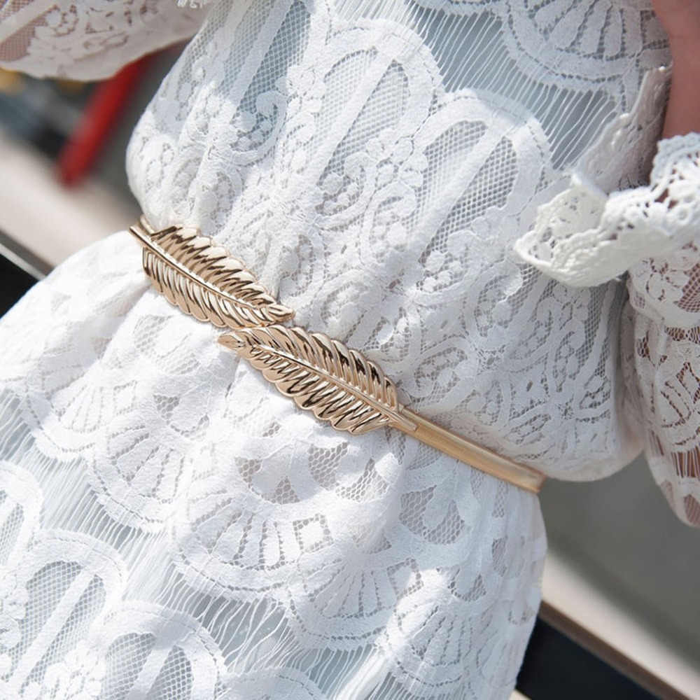 Women Metal Leaves Belt Waistband Cummerbund Buckle Elastic Strap Chain 3 Sizes