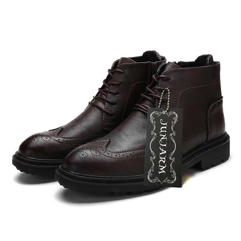 535eda20b94a ... JUNJARM 2019 Men Boots Fashion Men Ankle Boots Handmade Men Brogue Shoes  British Style Breathable Casual ...