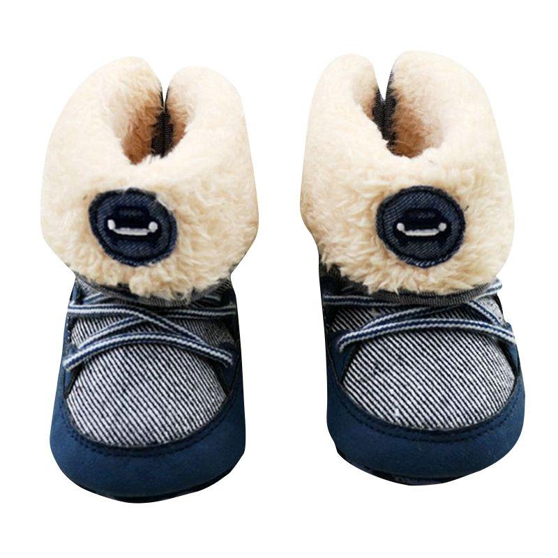 Newborn Baby Boys Prewalker Soft Snow Boots Faux Fur Lace-up Boots Snow Crib Shoe 0-18M S06