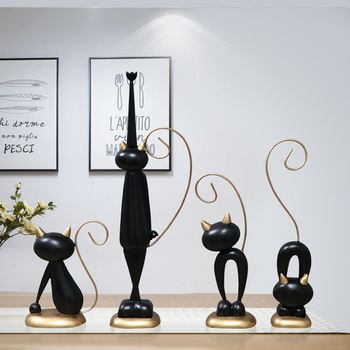 Home decoration charming cat crafts ornaments modern minimalist TV cabinet wine cabinet decorations furnishings creative gifts