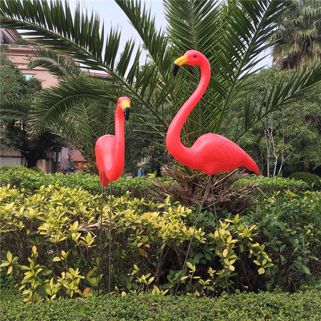 Free sipping 1pair plastic flamingo garden yard decoration and lawn art ornament wedding ceremony decoration