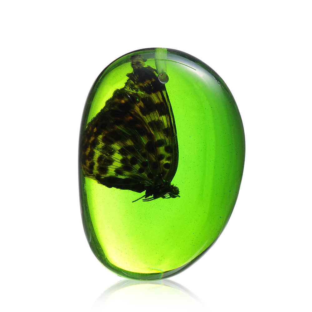 Nowy przyjeżdża ozdoba diy naturalny owad sweter łańcuch Craft prezent naszyjnik wisiorek motyl owady biżuteria z kamienia prezenty