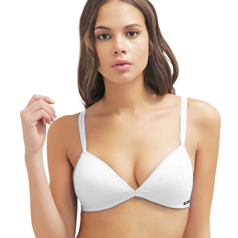 da18a619c2 white bra Teenage Girls  Wire Free Cotton Bra Essential Triangle BH Small  Size Bikini Bralette