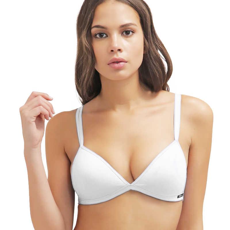 1cbe4a66ddf white bra Teenage Girls  Wire Free Cotton Bra Essential Triangle BH Small  Size Bikini Bralette