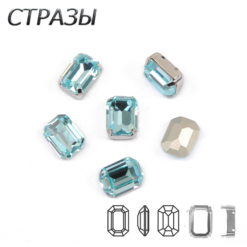 K9 Crystal Tctagon Sew on Aquamarine Rectangle Octagon Rhinestones Pointback Glass Bling Fancy Strass Chaton