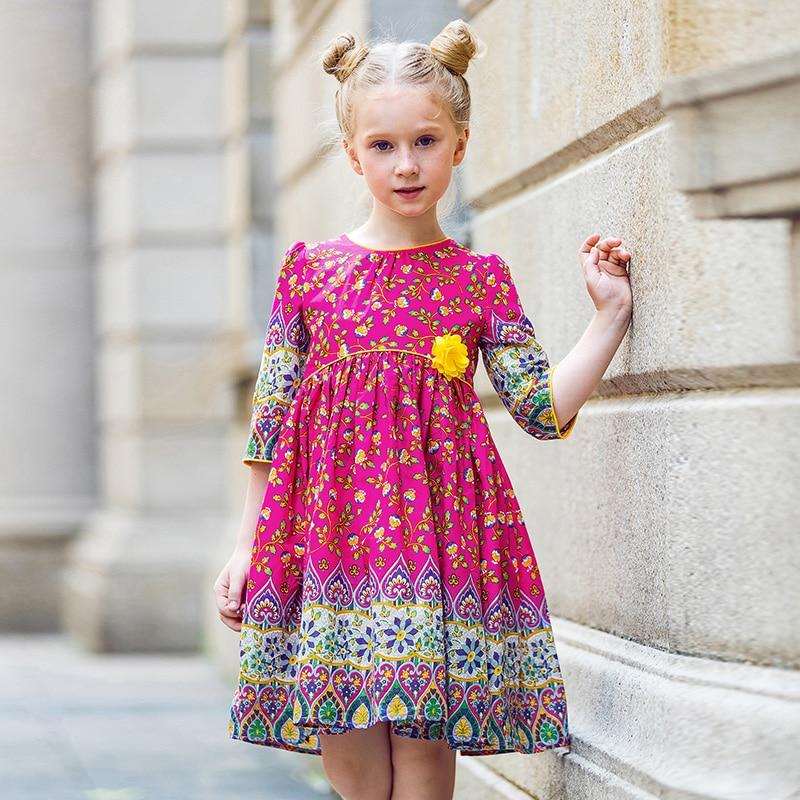 Automne filles Floral robe été 2017 marque Reine Des Neiges Costume princesse robe avec arc enfants robes pour filles vêtements