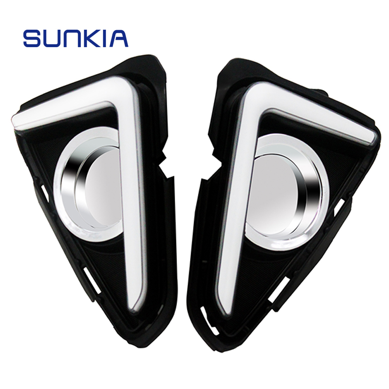 SUNKIA Waterproof LED Daytime Running Light DRL For Toyota RAV4 2016 2017 2018 With Turning Signal Light Car Styling