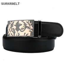 Surkrbelt New Genuine Leather Mans Belt  for Men Automatic Buckle Wolf Animal Luxury Brand Jeans Fashion Gift 3.5cm Width