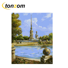 RIHE High Pagoda Drawing By Numbers DIY Blue Clear Lake Painting Handwork On Canvas Oil Art Coloring Home Decor Gift