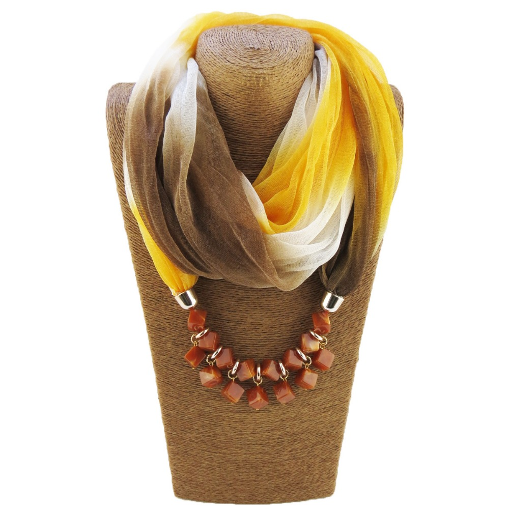 Fashion Ethnic Choker Necklace For Women Geometric Resin Beads Statement Silk Scarf Necklaces Bohemian Jewelry