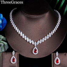 ThreeGraces Famous Brand African Design Bridal Accessories Red Cubic Zirconia Beads Jewelry Sets For Wedding Costume JS002(China)