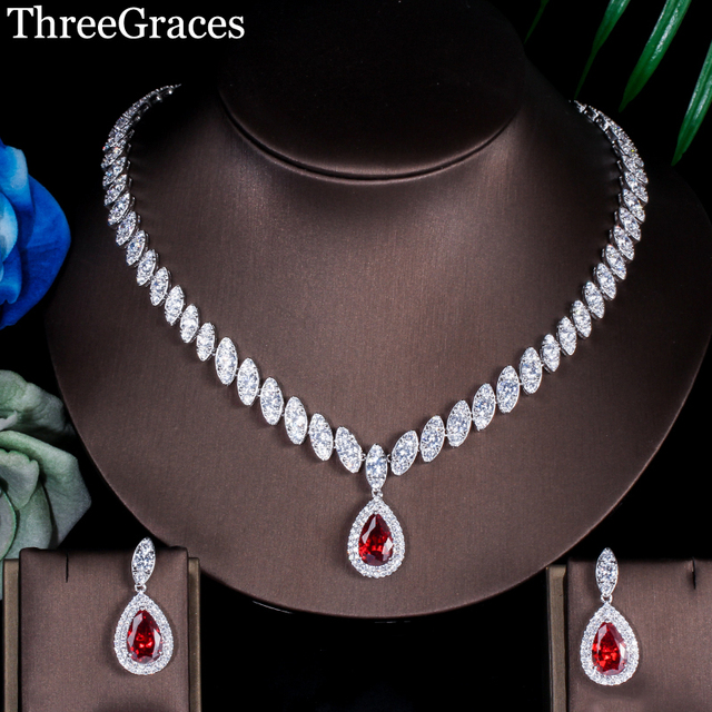 ThreeGraces Famous Brand African Design Bridal Accessories Red Cubic Zirconia Beads Jewelry Sets For Wedding Costume JS002