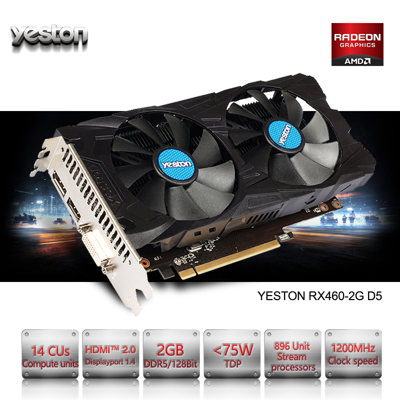 Yeston AMD Radeon RX 460 GPU 2GB GDDR5 128 bit Gaming Desktop computer PC Video Graphics Cards support DVI/HDMI PCI-E X16 3.0 yeston nvidia geforce gt 730 gpu 2gb