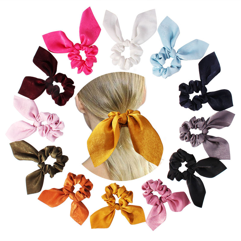 Pure Color Elastic Hair Band Rabbit Ear Bow Pearl Hair Rope Satin Ponytail Scrunchie Hair Tie For Women Headband Hair Accessorie
