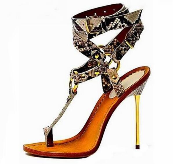 Summer Woman Sexy Gold Thin Heels Snakeskin T bar Hollow Out Ankle Buckle Strap Sandals Clip toe High Heel Party Dress Sandals