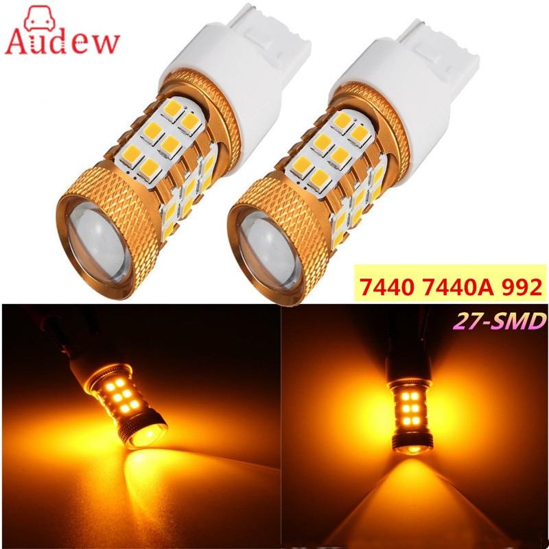 1шт хвост света Янтарь желтый 27-обломок SMD 2835 7440A 992 7440 Светодиодные лампы для автомобилей сигнала поворота света