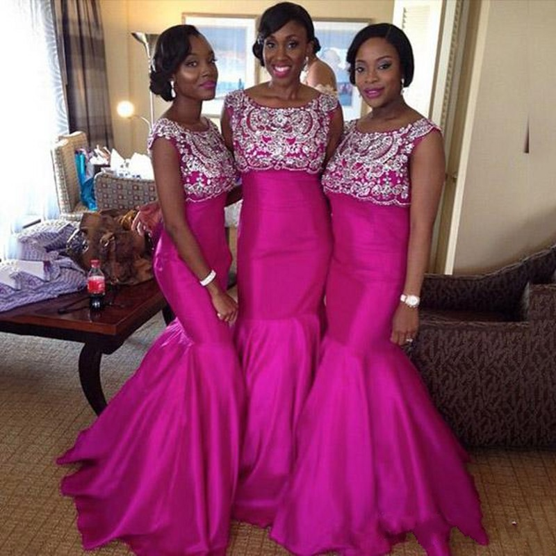 Fuschia African Bridesmaids Dresses Long Sexy Cap Sleeve Crystal Lace  Mermaid Nigerian Bridesmaid Dress Wedding Party Gowns ee9099b0264e