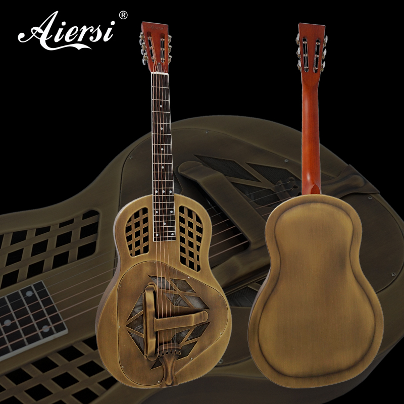 цена на Aiersi Brand Golden Bell Brass Metal Body Tricone Resonator Guitar Free Case and Strap