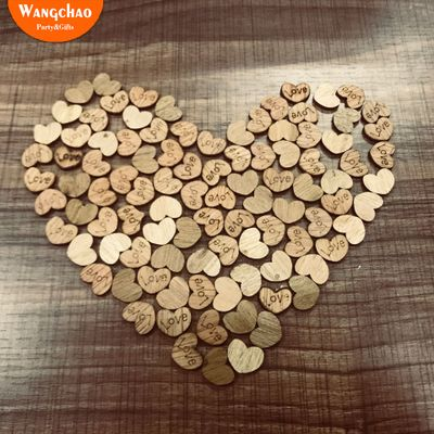 100pcs lot Vintage Wooden Heart Shape Decoration Rustic Wedding Engagement Decor Party Photo Props Diy Accessories Supplies in Party DIY Decorations from Home Garden