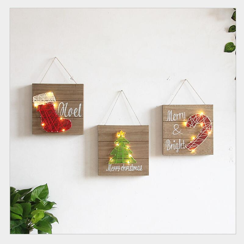 ins Wall Decoration LED Board Wall Paintings Retro Wood Wall Lamp Hanging Paintings for Home living room childrens room Decor