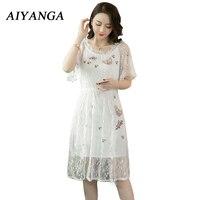 AIYANGA White Lace Dress For Women Chic Embroidery 2018 Summer Dress Female Sexy Off Shoulder Slash Neck Flare Short Sleeve