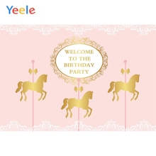 Yeele Birthday Party Princess Prince Gold Carousel Photography Backdrops Personalized Photographic Backgrounds For Photo Studio