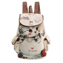 Casual Canvas School Backpack Women Lovely Cat Printed Drawstring Backpack Teenager Large Capacity Ladies School Bag canvas drawstring colour block backpack