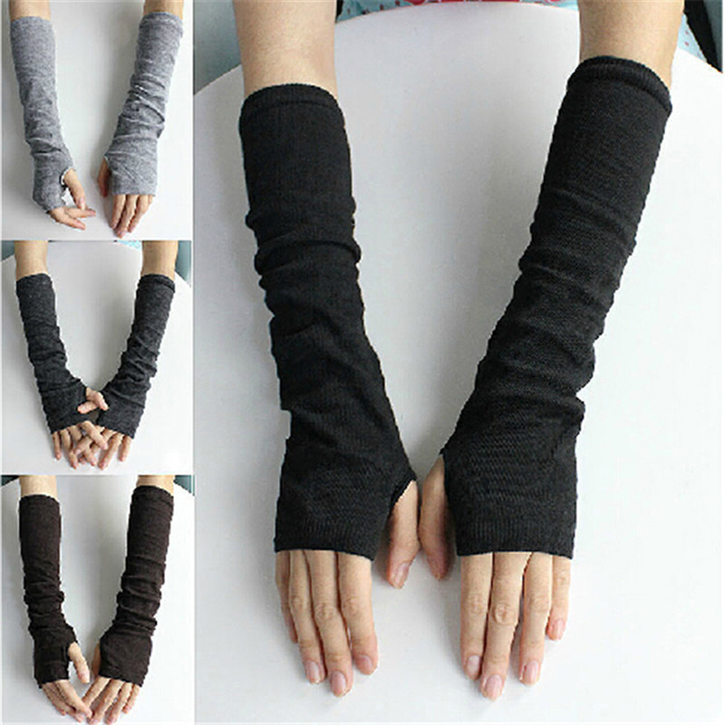2018 Winter Women Fingerless Gloves Femme Knitted Glove Warm Long Sexy Knitted Arm Warmers Glove New Fashion
