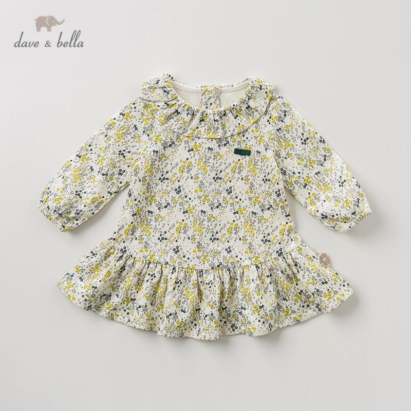 DB11843-2 dave bella autumn baby girl's princess cute bow floral dress children fashion party dress kids infant lolita clothes