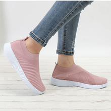Women's Shoes Sneakers Flat Knitting Autumn Plus Size 2019 New Female Mesh Vulcanized Ladies Slip On Breathable Casual