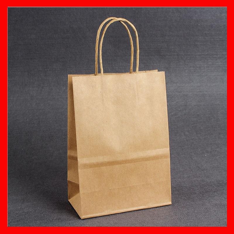 100pcs Lot Wholesale Brown Kraft Paper Bag With Handles