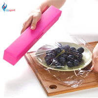 Hot Sale Stainless Steel Blade Preservative Plastic Wrap Dispenser Cling Film Cutter Holder Cutting Box Home