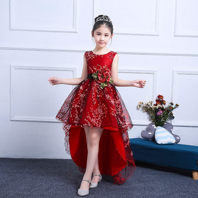 Short Front Long Back Princess Girls Ball Gown Dress Long Trailing Red Embroidery Floral Girl's Evening dress with Belt JF308 plus size floral embroidery tee dress with pockets