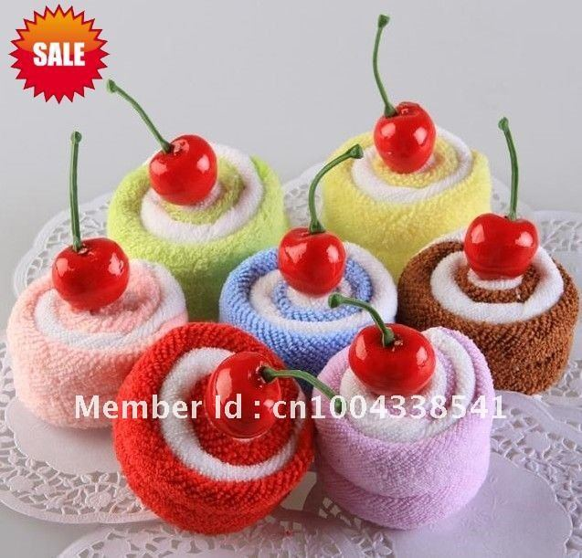 Hot sale 2 towels/roll, cake towel, gift towel, wedding gifts, birthday gifts,100%cotton, solid color, free shipping