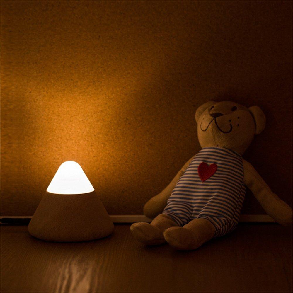 Led smart night lamp - Creative Volcano Design Smart Night Light Usb Led Wooden Table Lamp Children Desk Bed Beside Lamp