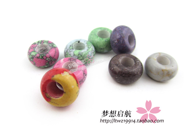 (10pieces/lot)14mm*14mm Diy multicolour Synthetic Stone beads large hole beads wholesale color assorted