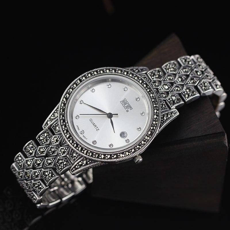 Offre spéciale HF marque de haute qualité S925 bijoux en argent Sterling hommes montre Thai argent unisexe Bracelet montre Style européen américain